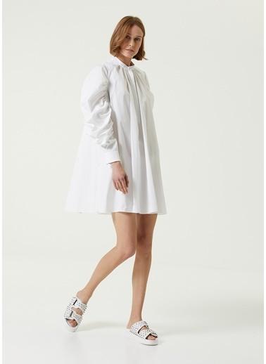 Alexander McQueen Alexander McQueen  m Yaka Balon Kol Mini Gömlek Elbise 101611874 Beyaz